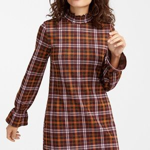 Plaid Long Sleeve Mock Neck Dress